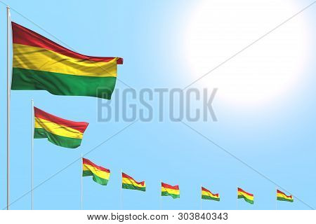 Cute Labor Day Flag 3d Illustration  - Many Bolivia Flags Placed Diagonal On Blue Sky With Place For