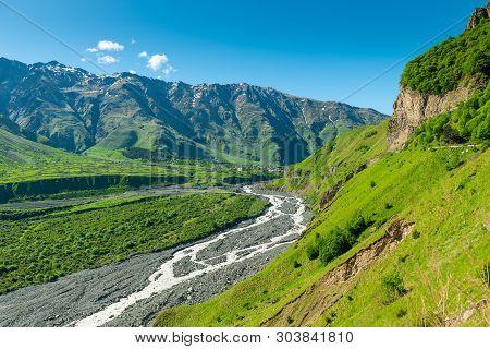 Scenic Spring View Of The Caucasus Mountains In Georgia