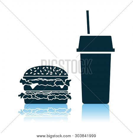 Fast Food Icon. Shadow Reflection Design. Vector Illustration.