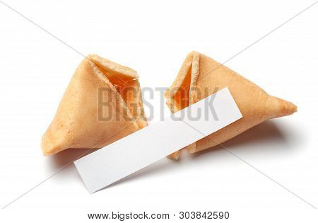 Chinese Fortune Cookies. Cookies With Empty Blank Inside For Prediction Words. Isolated On White Bac