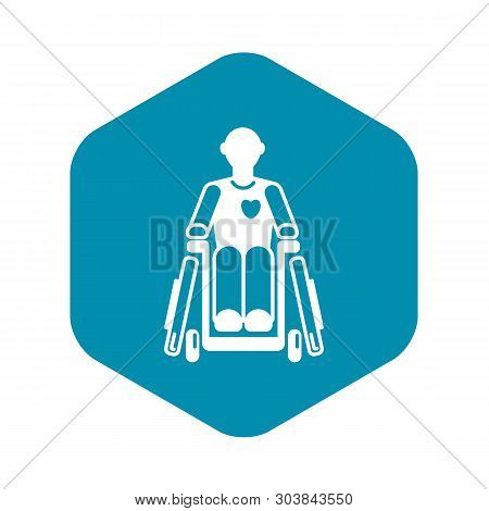 Invalid Man Wheelchair Icon. Simple Illustration Of Invalid Man Wheelchair Vector Icon For Web Desig