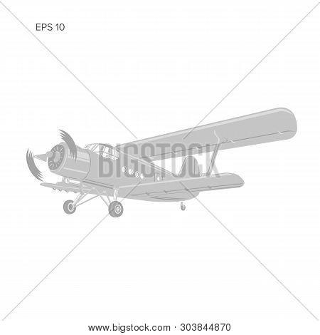Old Retro Vintage Piston Engine Biplane Airliner. Vector Illustration. Passenger Aircraft