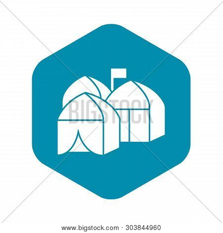 Refugee Tent City Icon. Simple Illustration Of Refugee Tent City Vector Icon For Web Design Isolated