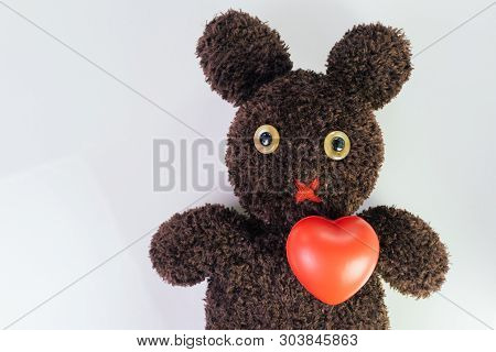Red Heart On Cute Brown Handmade Fluffy Doll With Pitty Eyes, Healthcare For Children Or Kids, Medic