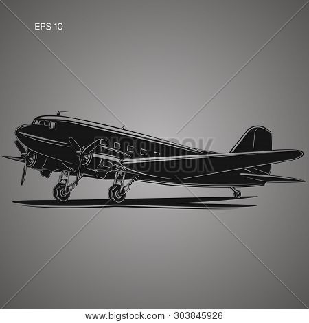Old Vintage Piston Engine Airliner. Retro Aircraft Icon