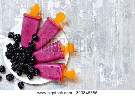 Blackberry Popsicles, Homemade Blackberry Ice Cream On Table With Fresh Blackberry Berries