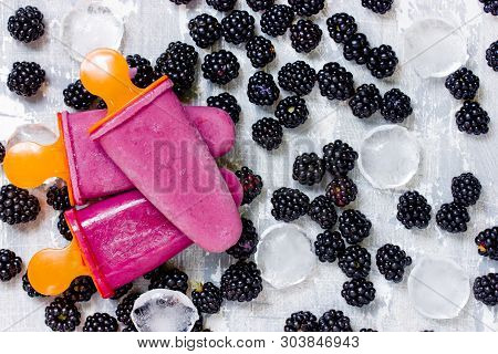 Blackberry Popsicles, Homemade Blackberry Ice Cream On Table With Fresh Blackberry Berries And Ice C
