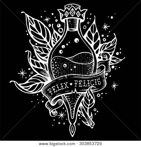 Witch And Magic Flask Potion With Crown, Branches With Leaves, Decorative Tape For Your Inscription.