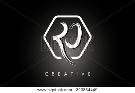 Ro R O Brushed Vector Letter Logo Design With Creative Modern Brush Lettering Texture And Hexagonal