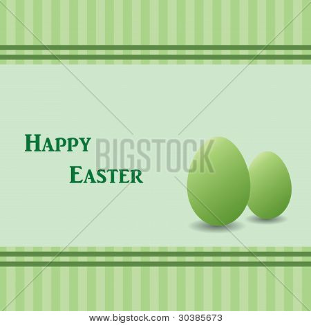 Green Easter Card With Two Green Eggs