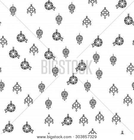 Various Jewelry Ornaments Seamless Pattern Vector. Different Luxury Jewelry Pendant Or Earrings Mono