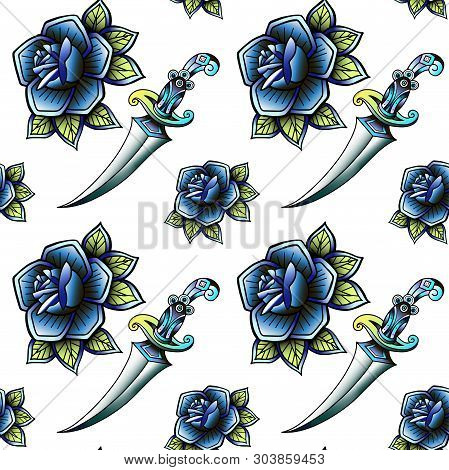 Old School Retro Vintage Doodle Tattoo Seamless Pattern.rose, Knife.continuous Openwork Emblems Symb