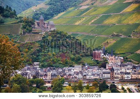 Landscape With German Hills Grape Fields Of Rheinland-pfalz Land With River Raine And Bacharach Town