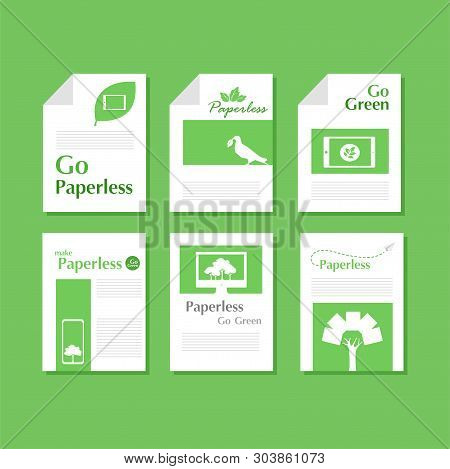 Set Of White Paper Document Of Green Paperless Go Green Logo Concept, Leaf, Tree, Tablet, Phone, Com