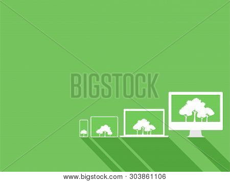 Set Of White Device Gadgets White Trees On Green Display Paperless Go Green Concept, Leaf, Tree, Tab