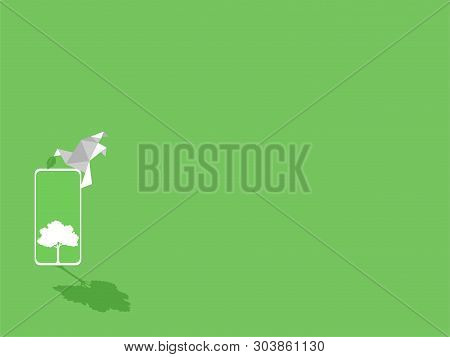 White Paper Bird With Green Leaf, White Smart Phone Device Gadgets White Trees On Green Display Pape