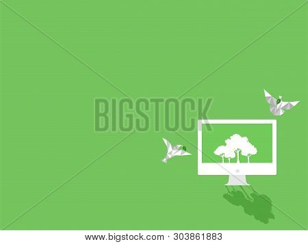 White Paper Bird With Green Leaf Fly To White Computer Device Gadgets White Trees On Green Display P
