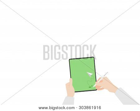 Hands Hold Tablet Read And Write Rocket Tree Fly On Green Display Paperless Logo Go Green Concept Id