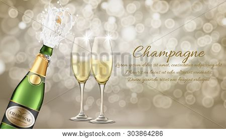 Elite Champagne Realistic Vector Advertising Banner Template. Champagne Splashing From Bottle With F