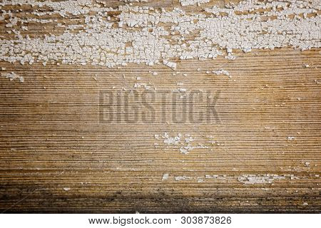 Old and peeled creaky paint , In course of time the paint of white tone peeled off the old planks and crackled, wood texture, background