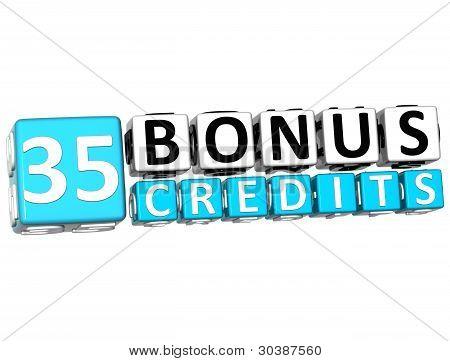 3D Get 35 Bonus Credits Block Letters