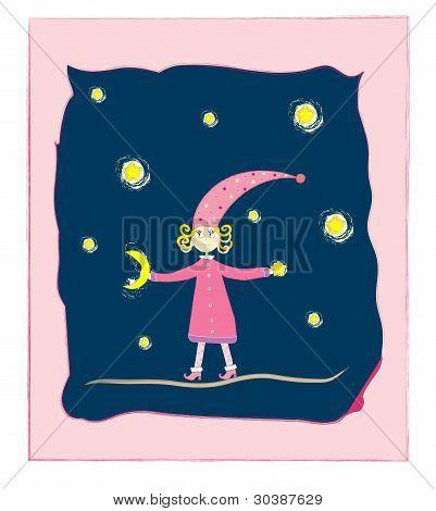süßes Mädchen mit Mond und Sternen Postkarte