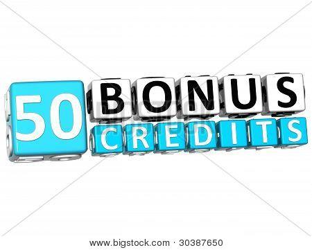 3D Get 50 Bonus Credits Block Letters