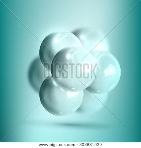 Model Molecular Structure Of Nanotechnology Vector. Glossy Reflective Mockup Of Spheres Nanotechnolo
