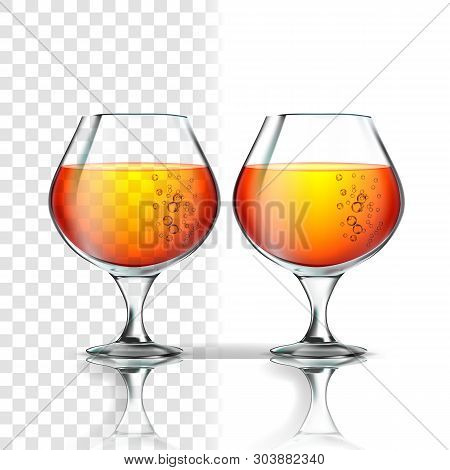 Full Glass Of Alcoholic Beverage Cognac Vector. Cup With Cognac, Whisky, Bourbon, Rum Or Scotch Drin