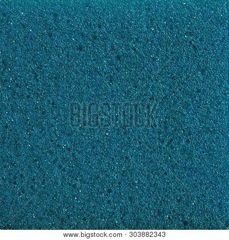 Blue Foam. Blue Sponge. The Texture Of The Sponge. Background Sponge. Sponge For Washing Dishes. Blu
