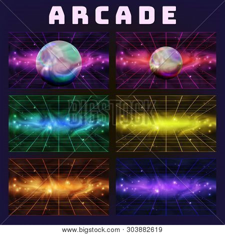 Galaxy Collection On Arcade Background Set Vector. Multicolored Assemblage Mockup Space With Sphere