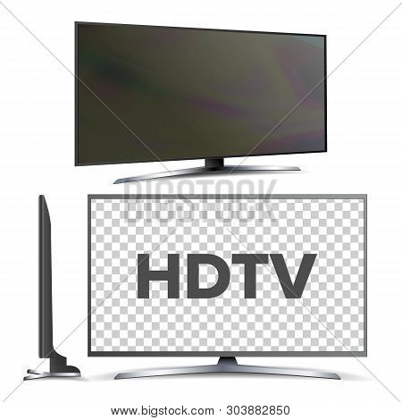 Modern Hdtv Lcd Led Screen Television Set Vector. Model Of Hdtv With Large Blank Display Panel. Wall