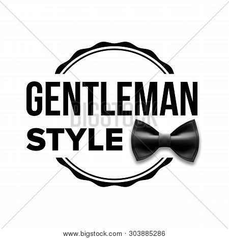 Gentleman Label . Design. Classic Sir. Bow Tie Illustration