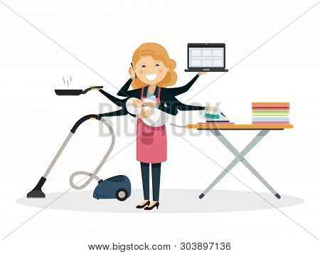 Busy Mom Smiiling With Baby At Home. Isolated Vector Illustration
