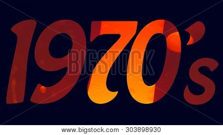 1970's Seventies Title Logo With A Blue Background And An Orange Lava Lamp Filled Text