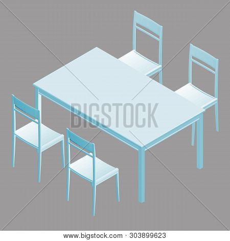 Table with chairs in isometry. Vector illustration poster