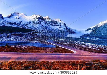 Panorama View Of Athabasca Glacier At Columbia Icefield Parkway In Jasper National Park,canada