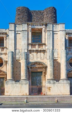 Incomplete Church of San Nicolo (Chiesa di San Nicolo l`Arena), Catania, Sicily, Italy poster