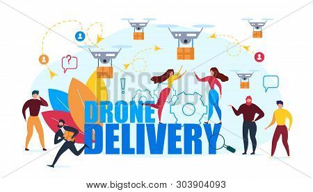 Drone Air Delivery. Cartoon People Recieve Cardboard Box Vector Illustration. Internet Shopping, Onl