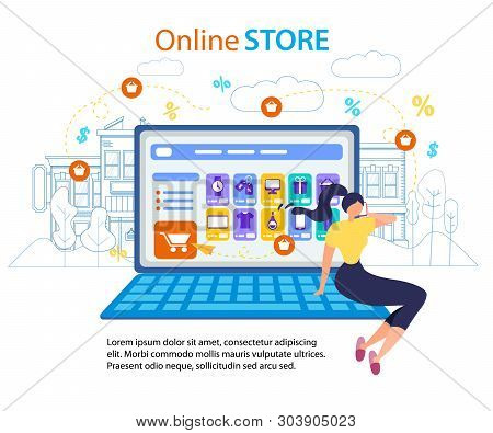 Woman Call Mobile Phone. Online Store Computer Screen Vector Illustration. Shopping Cart Internet Or