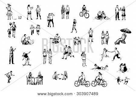 People Having Fun, Skating, Cycling, Eating Ice Cream, Taking Photos, Jogging, Summer Pastime Set. O