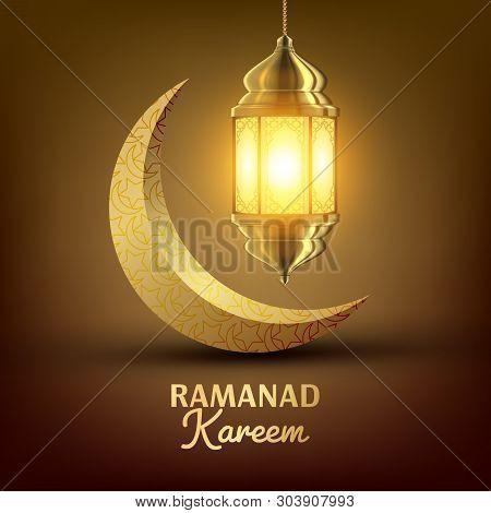 Ramadan Kareem Greeting Card . Islam. Lamp. Lantern Design. Ramazan Greeting Design. Muslim Fanous, Fanoos. Islamic Season Invitation Banner Illustration poster