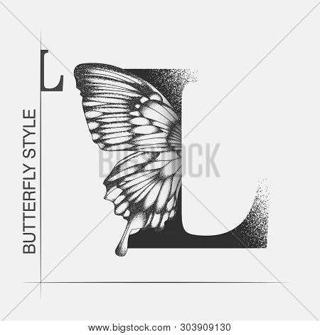 Letter L With Butterfly Silhouette. Monarch Wing Butterfly Logo Template Isolated On White Backgroun