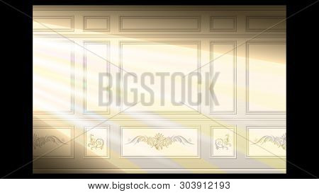 Stucco Floral Pattern On Light Wall Panel Moulding Seamless In The Sunlight. Realistic Detailed Vect