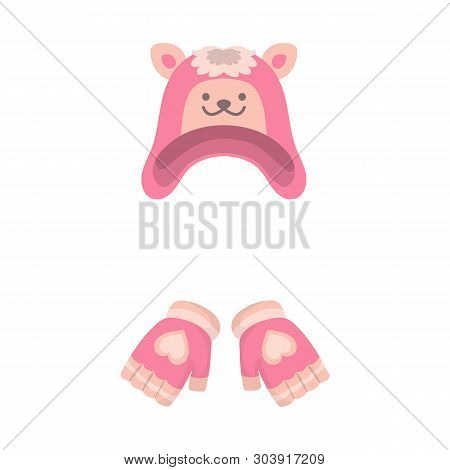 Isolated Object Of Hat And Gloves  Icon. Collection Of Hat And Pompom Stock Vector Illustration.