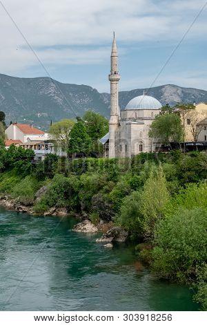 Beautiful View On Mostar City On Neretva River In Bosnia And Herzegovina