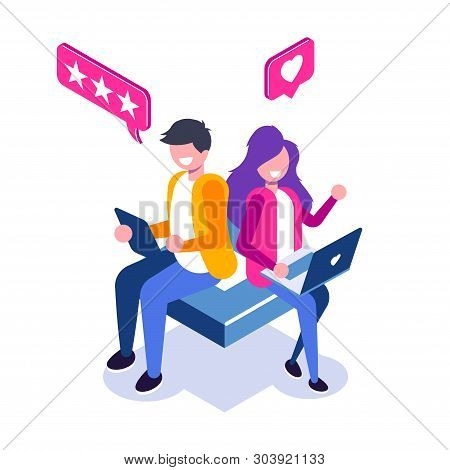 Customer Review Isometric Concept. Usability Evaluation, Feedback, Rating System. Man And Woman Leav