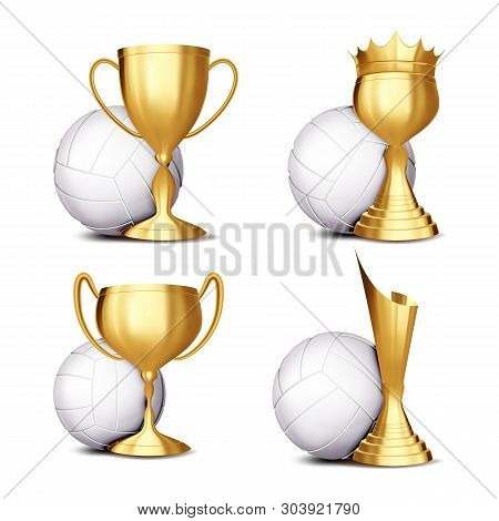 Volleyball Game Award Set . Volleyball Ball, Golden Cup. Modern Volleyball Tournament. Design For Sp