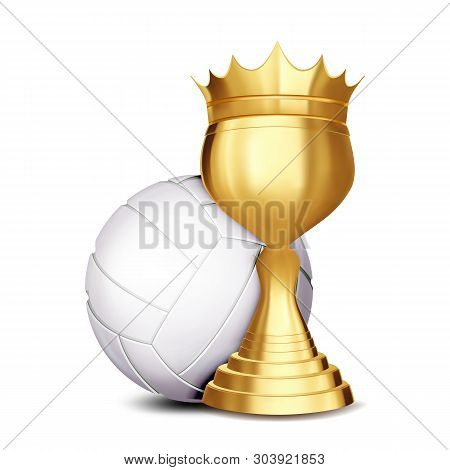 Volleyball Award . Volleyball Ball, Golden Cup. For Sport Promotion. Tournament, Championship Flyer