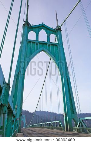 St. Johns Towers on steel suspension bridge in Portland, OR poster